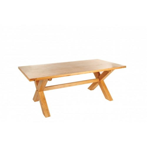 Provence Oak Fix Top Dining Table with Cross Leg L 2.1m