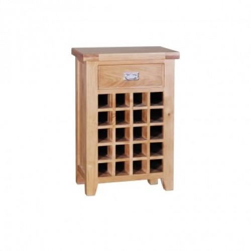 Elegance Oak Wine Cabinet With 1 Drawer