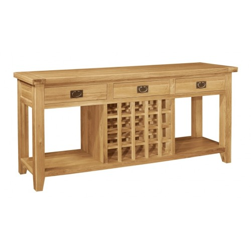 Provence Oak 3 Drw Console Wine Table