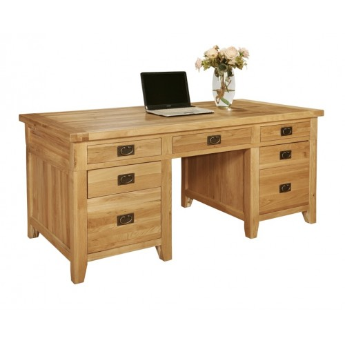 Provence Oak 7 Drawer Twin Pedestal Desk