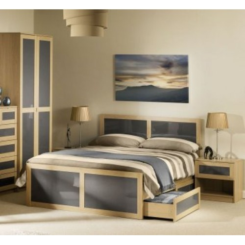 Strada Bed 150cm Light Oak Finish In Smoked High Gloss