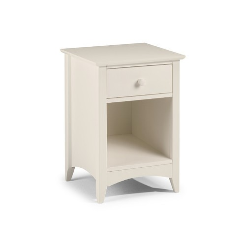 Cameo 1 Drawer Bedside Stone White Finish