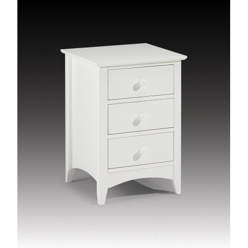 Cameo 3 Drawer Bedside Stone White Finish