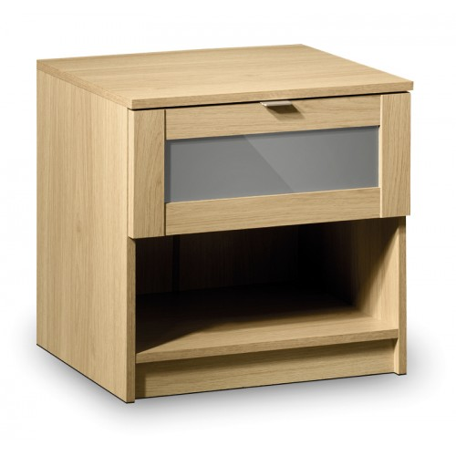 Strada 1 Drawer Bedside Light Oak Finish In Smoked High Gloss