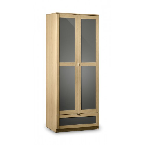 Strada 2 Door Wardrobe Light Oak Finish In Smoked High Gloss