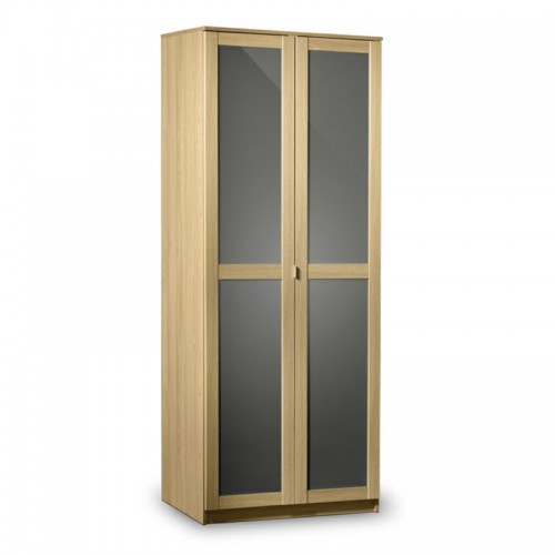 Strada 3 Door Wardrobe Light Oak Finish In Smoked High Gloss