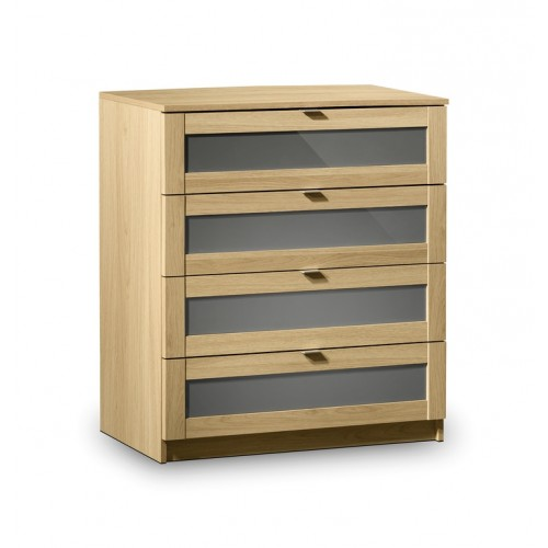 Strada 4 Drawer Chest Light Oak Finish In Smoked High Gloss