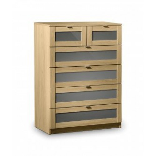 Strada 4 Plus 2 Drawer Chest Light Oak Finish In Smoked High Gloss