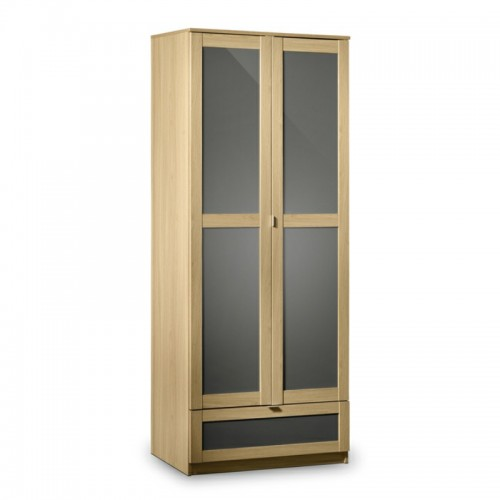 Strada Combination Wardrobe Light Oak Finish In Smoked High Gloss
