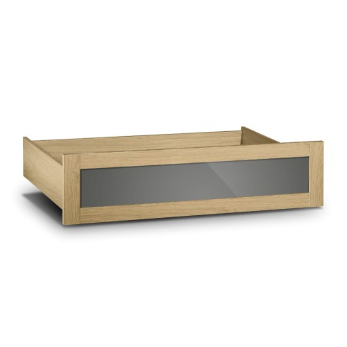 Strada Underbed Drawer Light Oak Finish In Smoked High Gloss