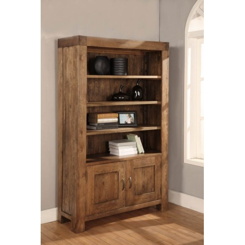 2 Door Bookcase with 2 adjustable shelves Rustic Oak