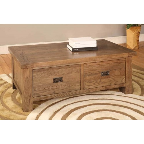 2 Drawer Coffee Table Rustic Oak