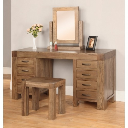 Desk or Dressing Table with 8 Drawers Rustic Oak
