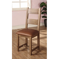 Dining Chair with Leather Seat Rustic Oak