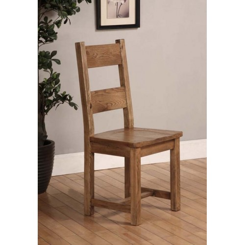 Dining Chair with Solid Seat Rustic Oak