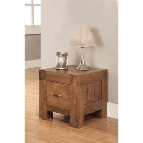 Lamp Table with 1 drawer Rustic Oak