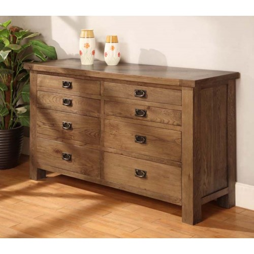 Long 8 Drawer Chest of Drawers Rustic Oak