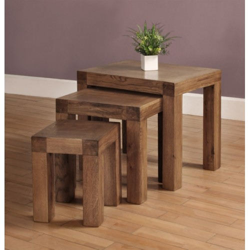 Nest of 3 tables Rustic Oak
