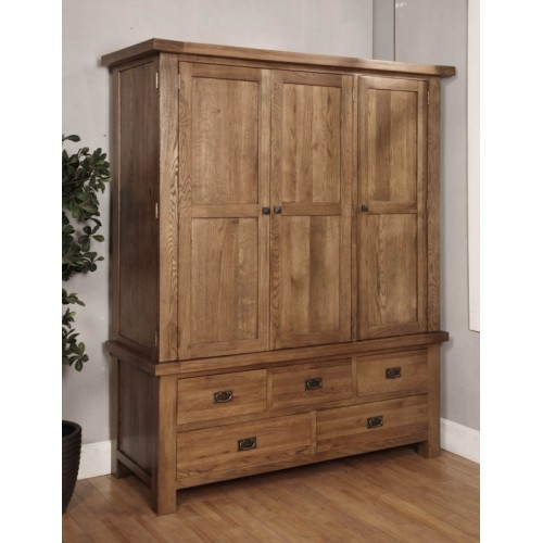 Triple Wardrobe Rustic Oak