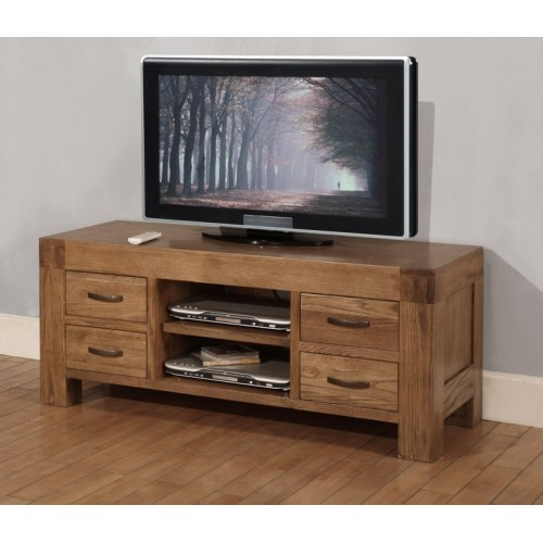 TV Unit with 4 drawers Rustic Oak