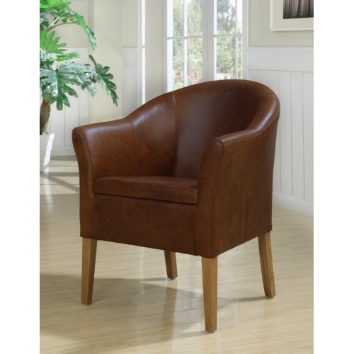 Boston tub chair in antique leather