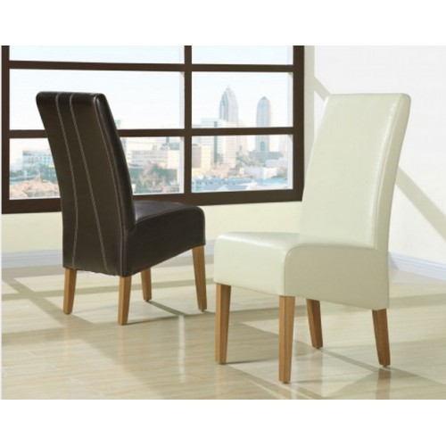 Florence dark brown leather dining chair contrast stitch & light oak legs