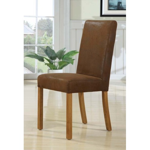 Madrid dining chair rubbed through leather effect with rustic oak legs