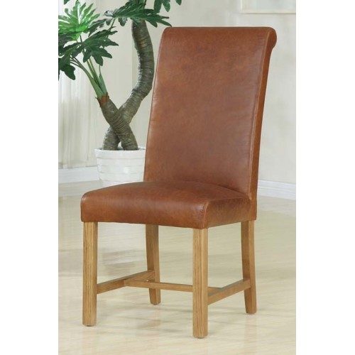 Monastery Dining Chair roll back antiqued leather