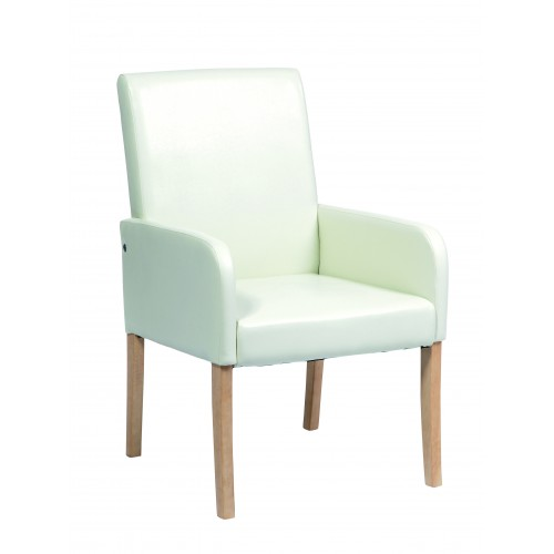 Occasional Chair In Cream Faux Leather  Milano Upholstered
