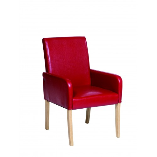 Occasional Chair In Red Faux Leather  Milano Upholstered