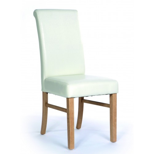 Upholstered Roll Back Chair In Ivory Faux Leather Hamilton