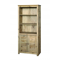 2 door bookcase Hacienda Waxed Pine