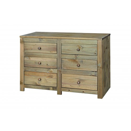 3+3 drawer wide chest  Hacienda Waxed Pine
