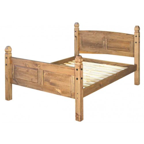 "4ft6"" high end bedstead Corona Waxed Pine"