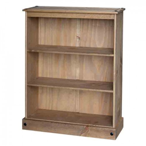 low wide bookcase  Corona Waxed Pine