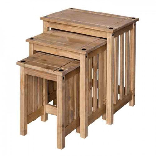 stacking table set  Corona Waxed Pine