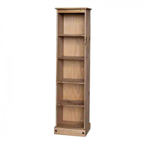 tall narrow bookcase Corona Waxed Pine