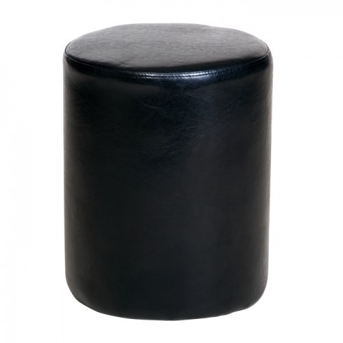 upholstered round stool in black faux leather Dovedale