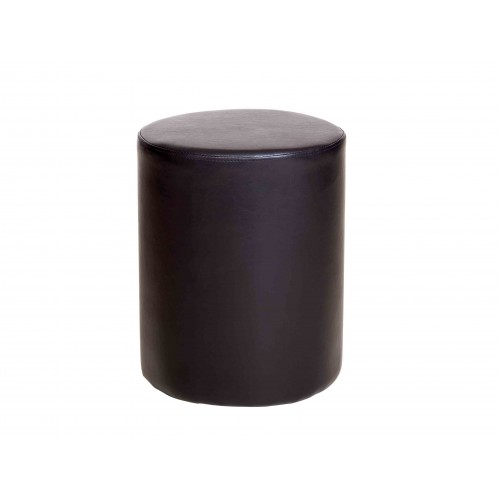 upholstered round stool in brown faux leather Dovedale