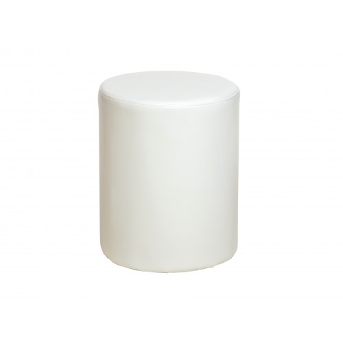 upholstered round stool in cream faux leather Dovedale
