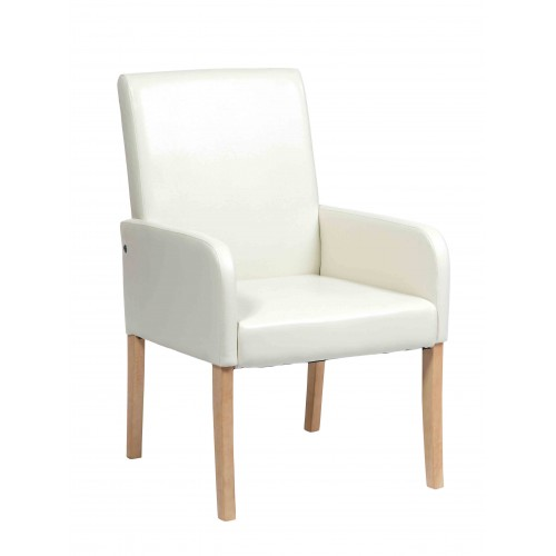 Occasional Chair In Cream Faux Leather Milano