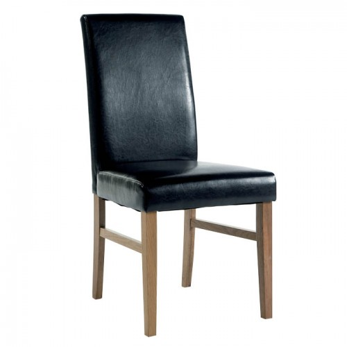 Upholstered Chair In Brown Faux Leather Traditional