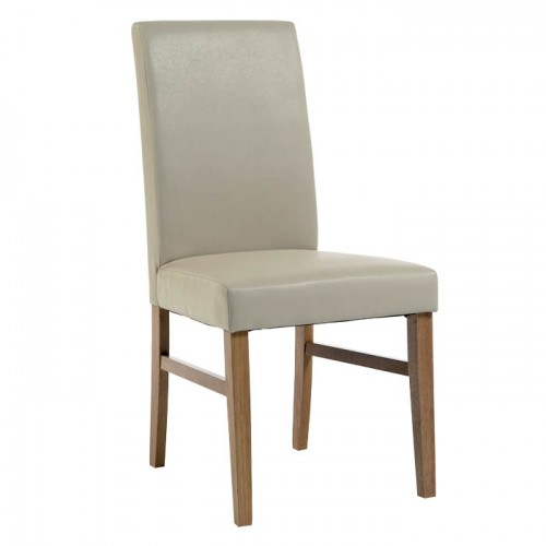 Upholstered Chair In Ivory Faux Leather Traditional