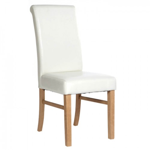 Upholstered Roll Back Chair In Ivory Faux Leather Traditional