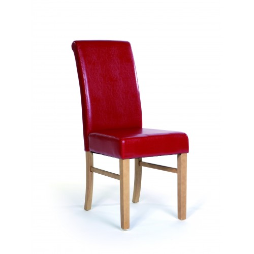 Upholstered Roll Back Chair In Red Faux Leather Traditional