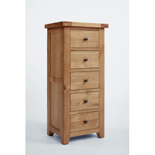 Devon Oak 5 Drawer Wellington