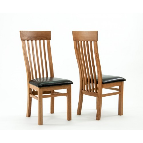 Devon Oak Curved Back Dining Chairs - PAIR