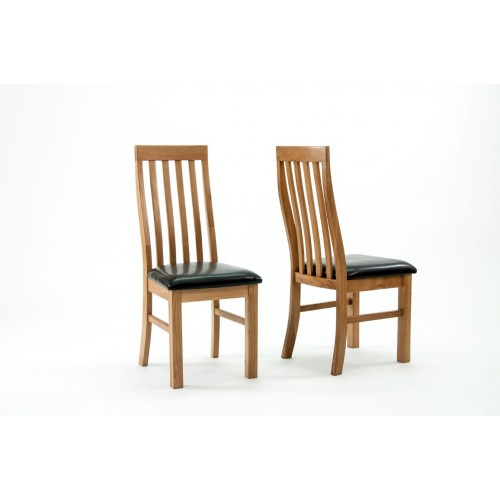 Devon Oak Lancaster Slatted Dining Chairs - PAIR