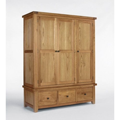 Devon Oak Triple Wardrobe with Drawers