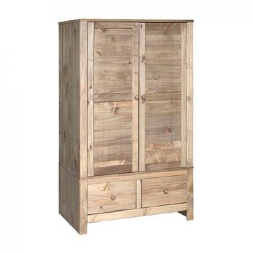 2 door,2 drawer wide wardrobe Hacienda Waxed Pine